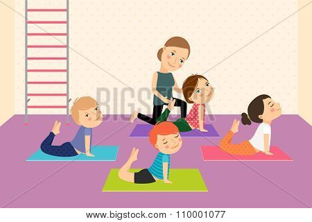 Kids yoga with Instructor.