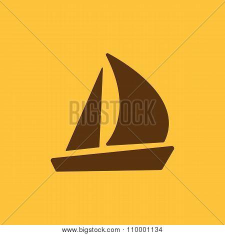 The sailboat icon. Sailing ship symbol. Flat