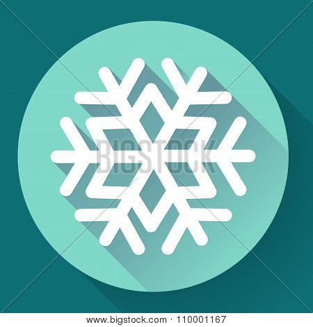 White snowflake flat icon with long shadow. Vector illustration.
