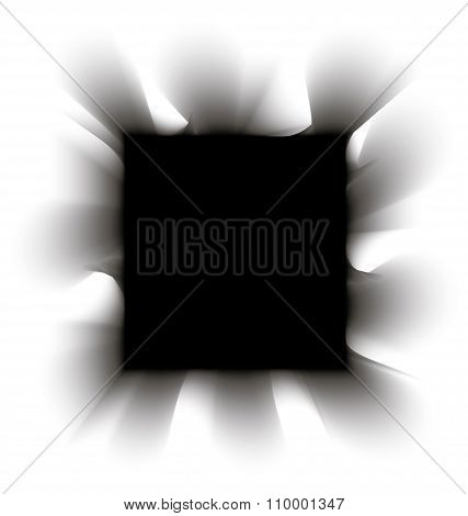 Black smoke square on a white background