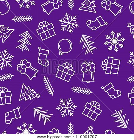 Christmas Background With Outline Elements.