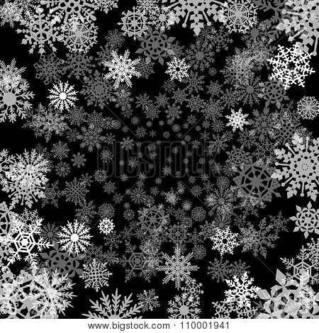 Black  Christmas Pattern With Different Snowflakes Falling