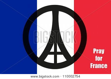 Sign Flat Style Eiffel Tower In Paris On The Flag