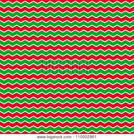 Christmass Background With Green And Red Zig-zag Stripes.