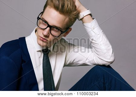 Handsome Young Businessman Wearing Glasses