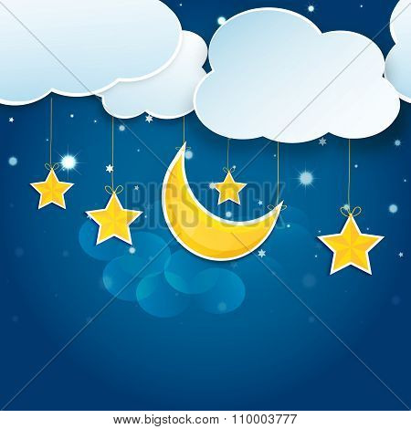 Cartoon Stars And Clouds In The Night Sky. Vector Eps10.