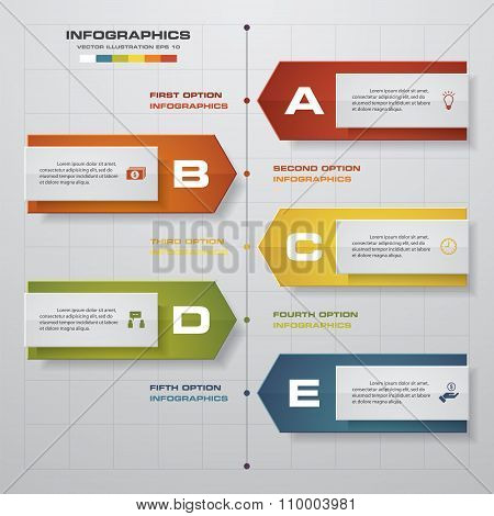 Timeline infographics, 5 steps elements and icons. Design clean number banners template.