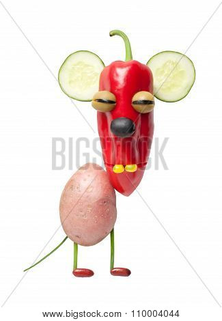 Mouse Made Of Vegetables On Isolated Background
