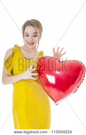 Funny Woman Holding Red Heart Balloon