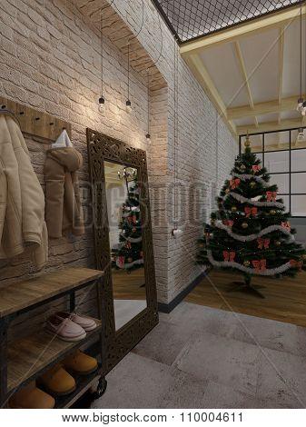 New Year Loft Interior, Christmas Tree, 3D Render