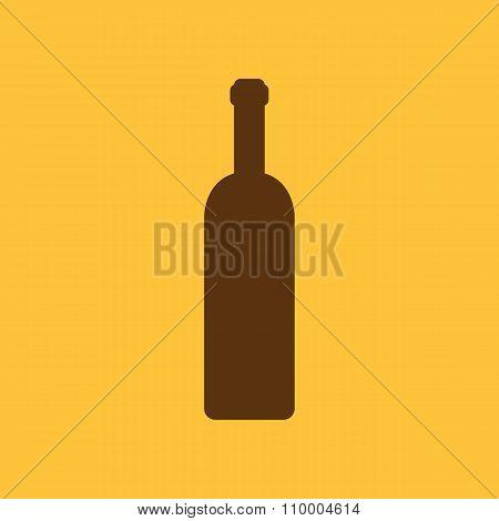 The wine bottle icon. Bottle symbol. Flat