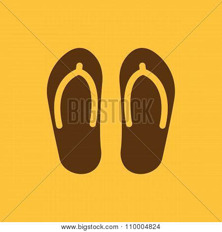 The flip flops icon. Vacation symbol. Flat