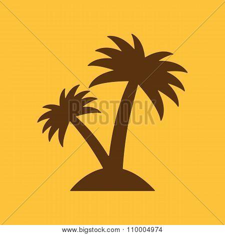 The palm icon. Island symbol. Flat