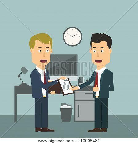 Vector flat illustration of two businessmen making signing deal.