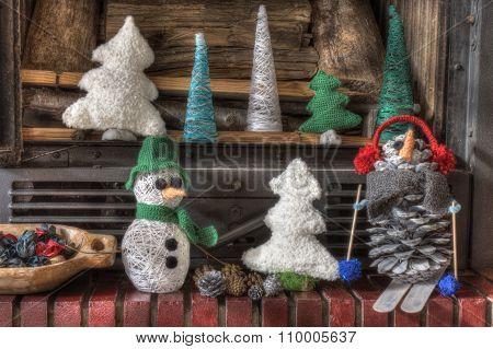 Xmas Decorations Crafts Fireplace