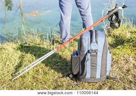 Backpack And Nordic Walking Sticks