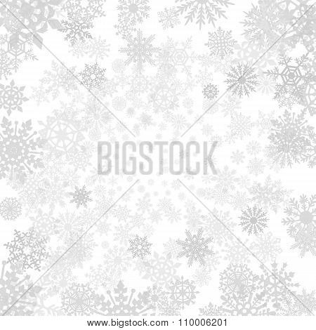 Winter Grey  Background With Snowflakes. Vector Paper Illustration.