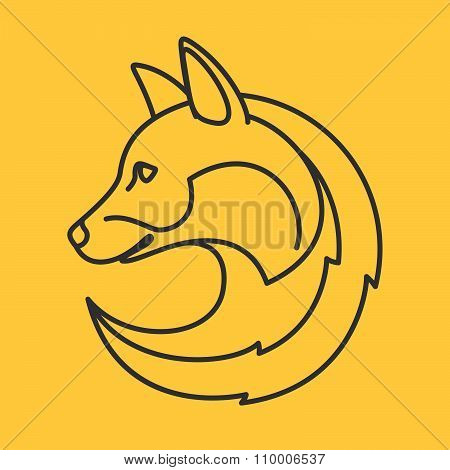 Fox Head Logo. Line Art Style.
