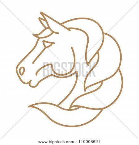 Horse Head Vector Logo. Line Art Style.