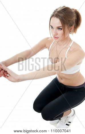 Athletic Woman Doing Sport Exercise
