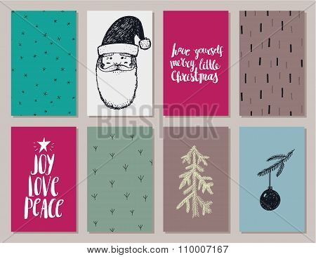 Vector set of colorful Christmas, New year cards, banners, posters isolated