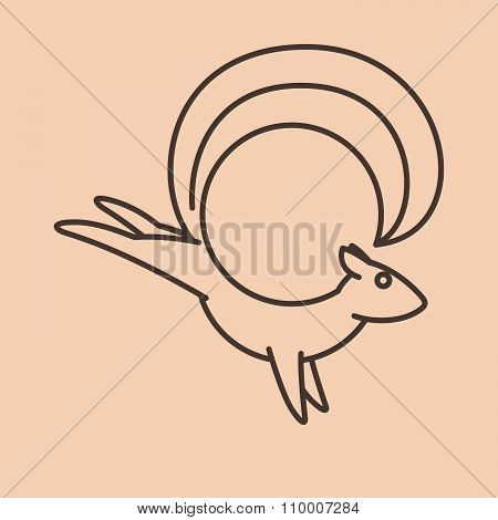 Squirrel Character Logo. Line Art Style.