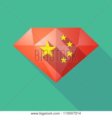 Long Shadow Diamond Icon With  The Five Stars China Flag Symbol