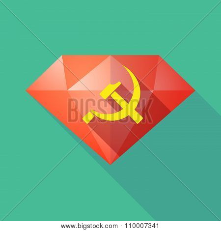 Long Shadow Diamond Icon With  The Communist Symbol