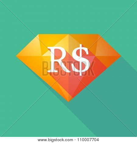 Long Shadow Diamond Icon With A Brazillian Real Currency Sign
