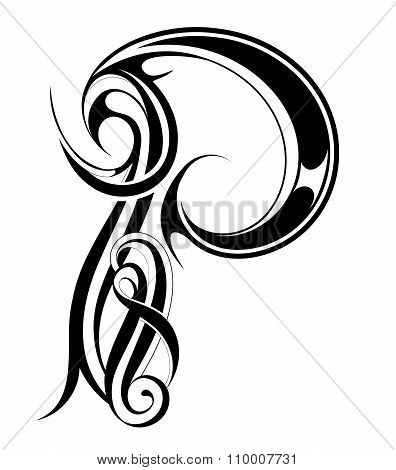 Letter P Gothic style