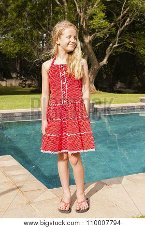 Girl Red Dress Pool Summer