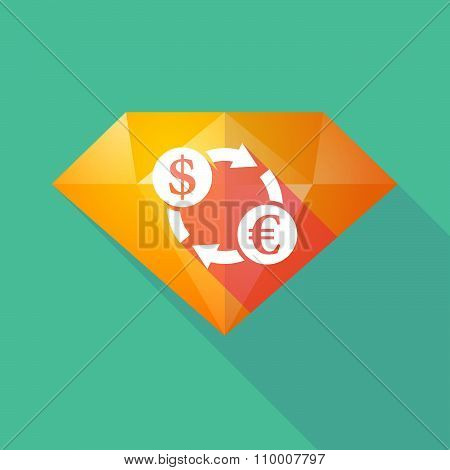 Long Shadow Diamond Icon With A Dollar Euro Exchange Sign