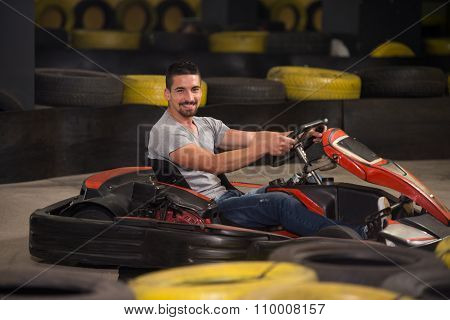 Young Man Driving Go-kart Karting Race