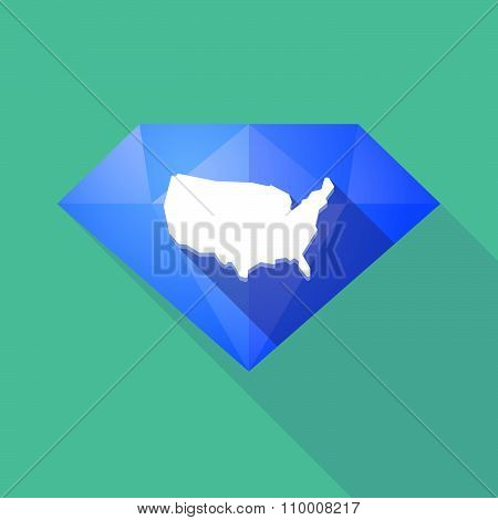 Long Shadow Diamond Icon With  A Map Of The Usa