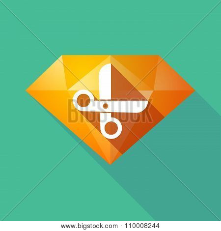 Long Shadow Diamond Icon With A Scissors