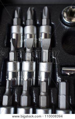 Set Of Screwdriver Bits On Toolbox