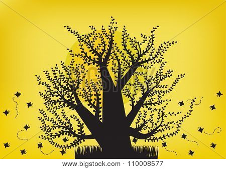 Black Tree And Butterfly On The Moon Light