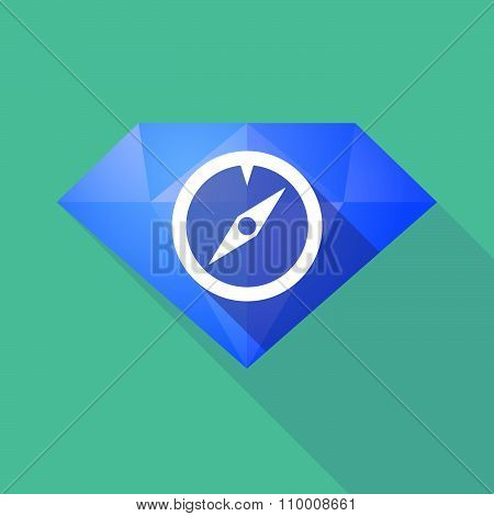 Long Shadow Diamond Icon With A Compass