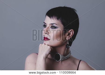 retro dancer flapper with short black hair and jewelry