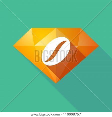 Long Shadow Diamond Icon With A Coffee Bean