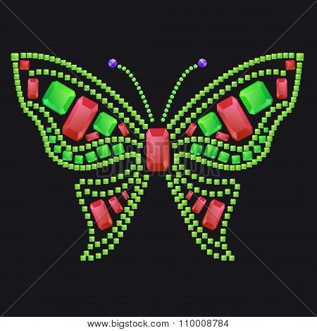 Butterfly From Colored Gems