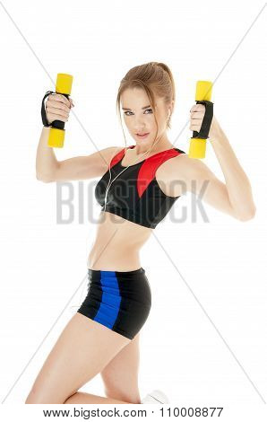 Athletic Girl With Dumbbells Covering White Background. Healthy Lifestyle Concept.