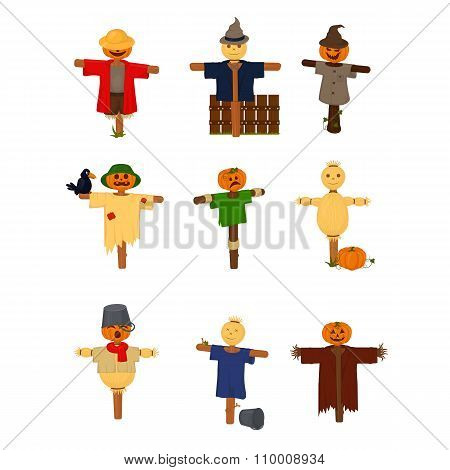 Set of cartoon style scarecrow isolated