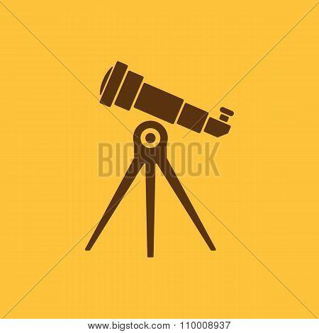 The telescope icon. Spyglass symbol. Flat
