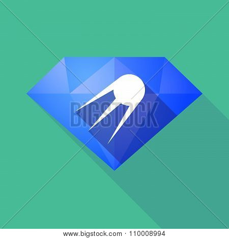 Long Shadow Diamond Icon With A Vintage Satellite