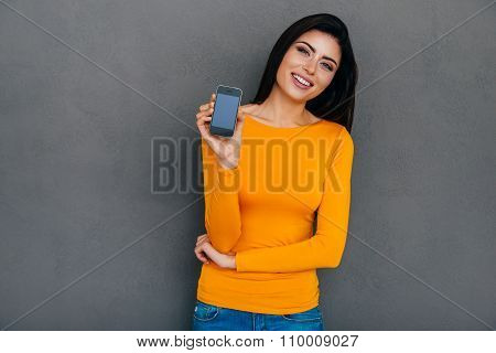 Showing Her New Smart Phone.