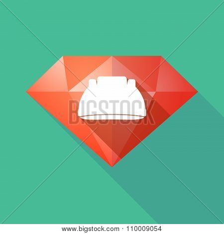 Long Shadow Diamond Icon With A Work Helmet