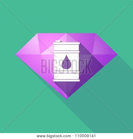 Long Shadow Diamond Icon With A Barrel Of Oil