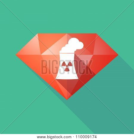 Long Shadow Diamond Icon With A Nuclear Power Station