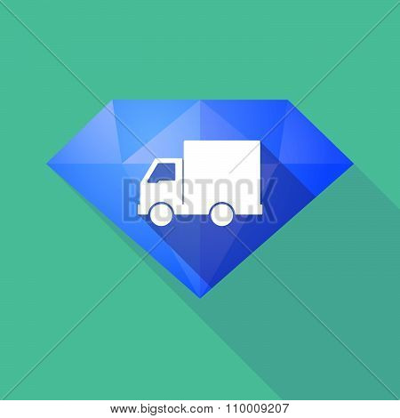 Long Shadow Diamond Icon With A  Delivery Truck